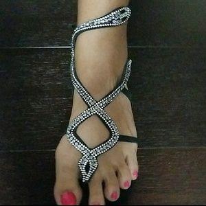 SCHUTZ Rhinestone Snake Sandal